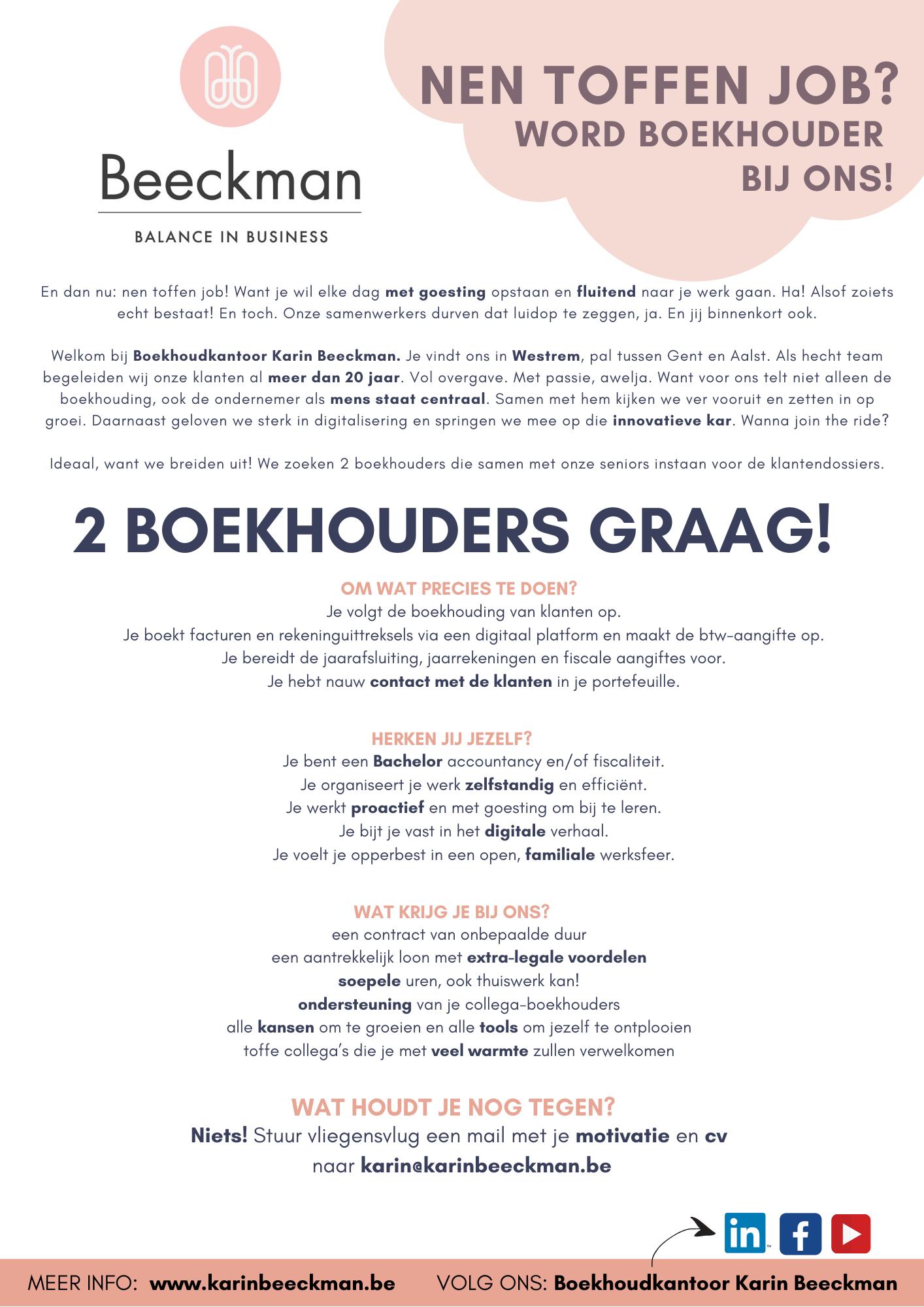 Boekhoudkantoor Karin Beeckman zoekt 2 boekhouders om haar team te versterken